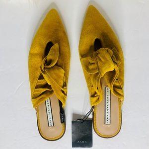 NWT Zara Mustard Yellow Bow Loafers SZ 7.5